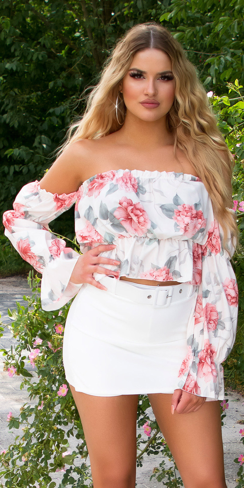 Sexy off-shoulder crop top met bloemen-print wit