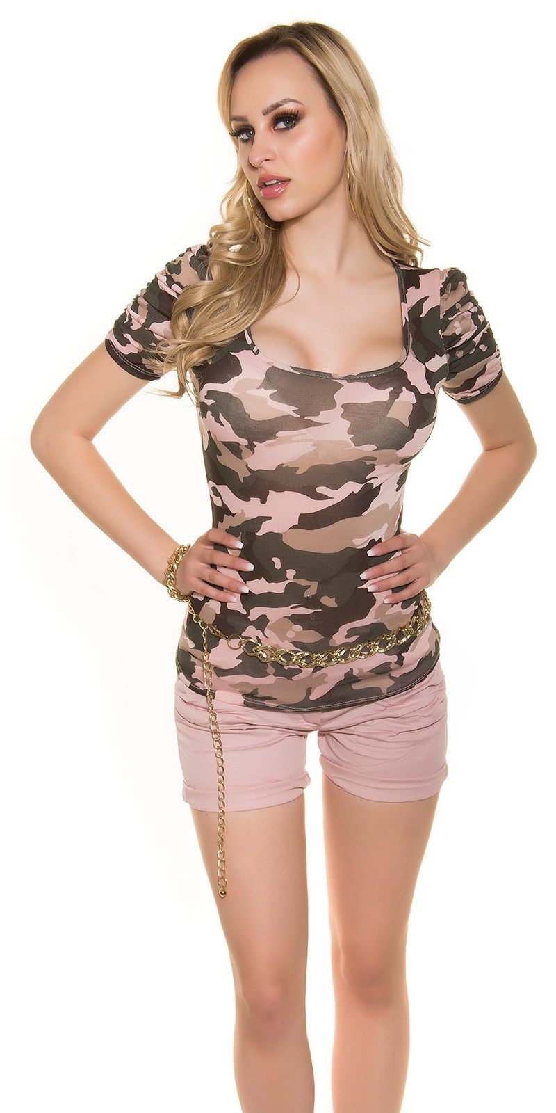 Sexy KouCla Shirt in Camouflage Print Pink