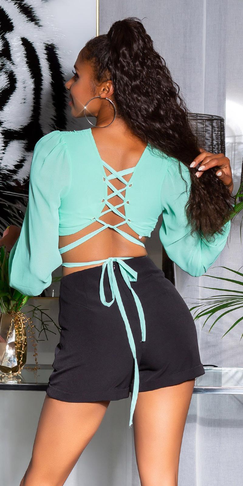 Sexy open rug blouse met veter groen