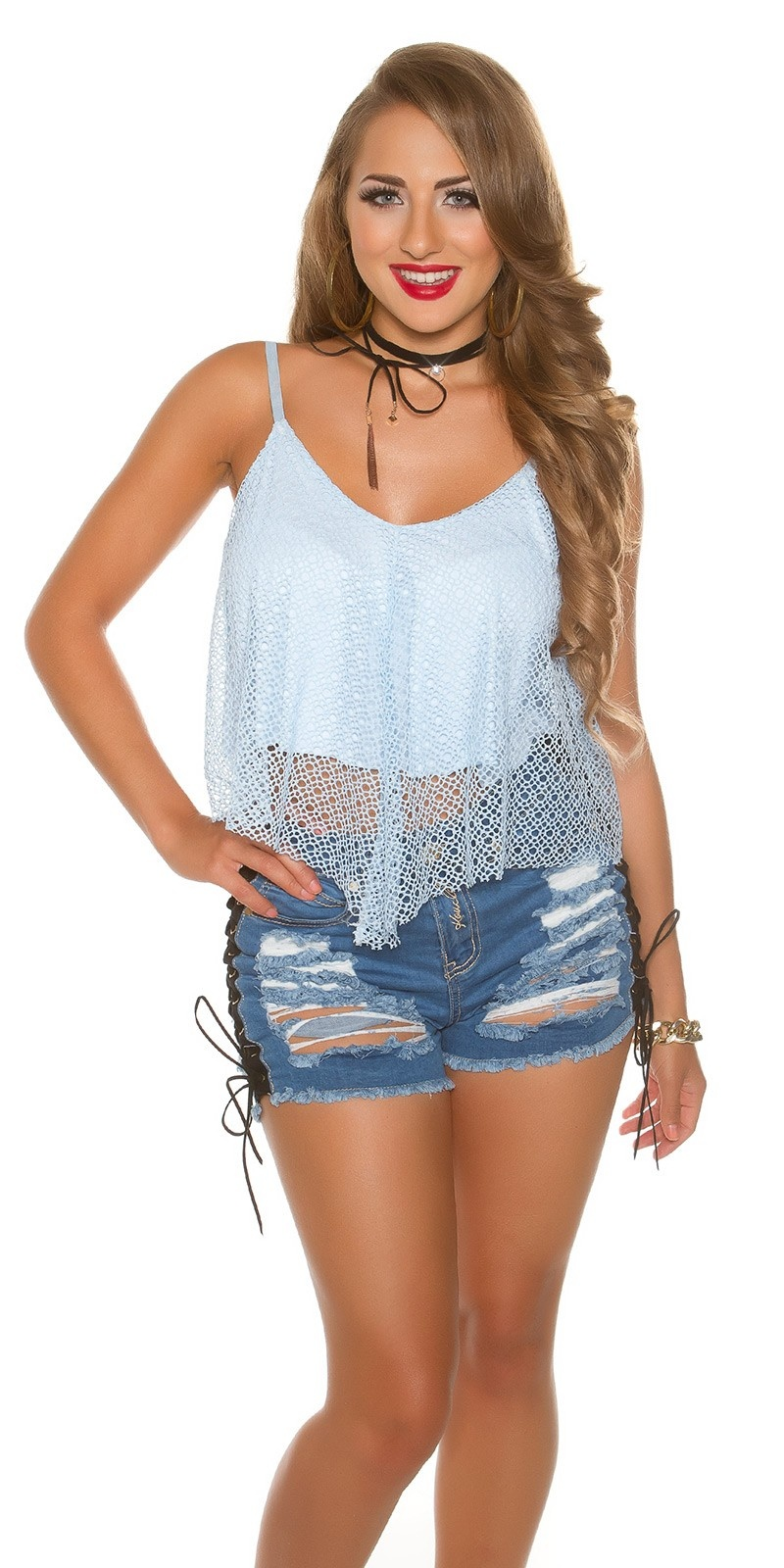 Sexy double-layered carrier Crop Top Babyblue