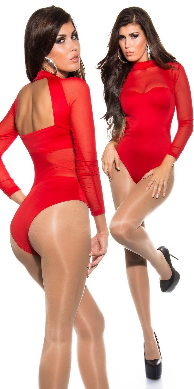 Sexy open rug body met gaasstof rood