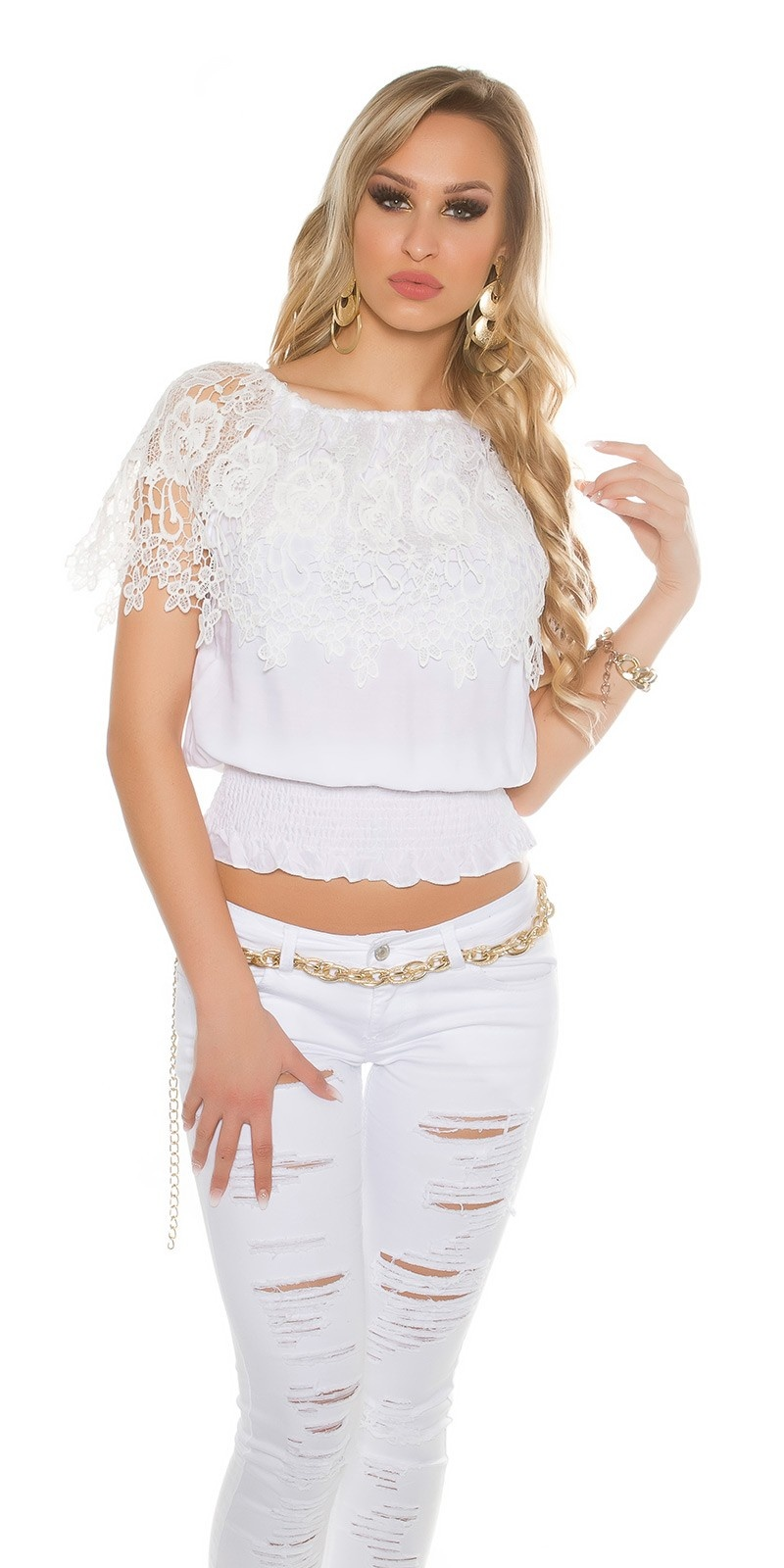 Sexy carment top with lace White