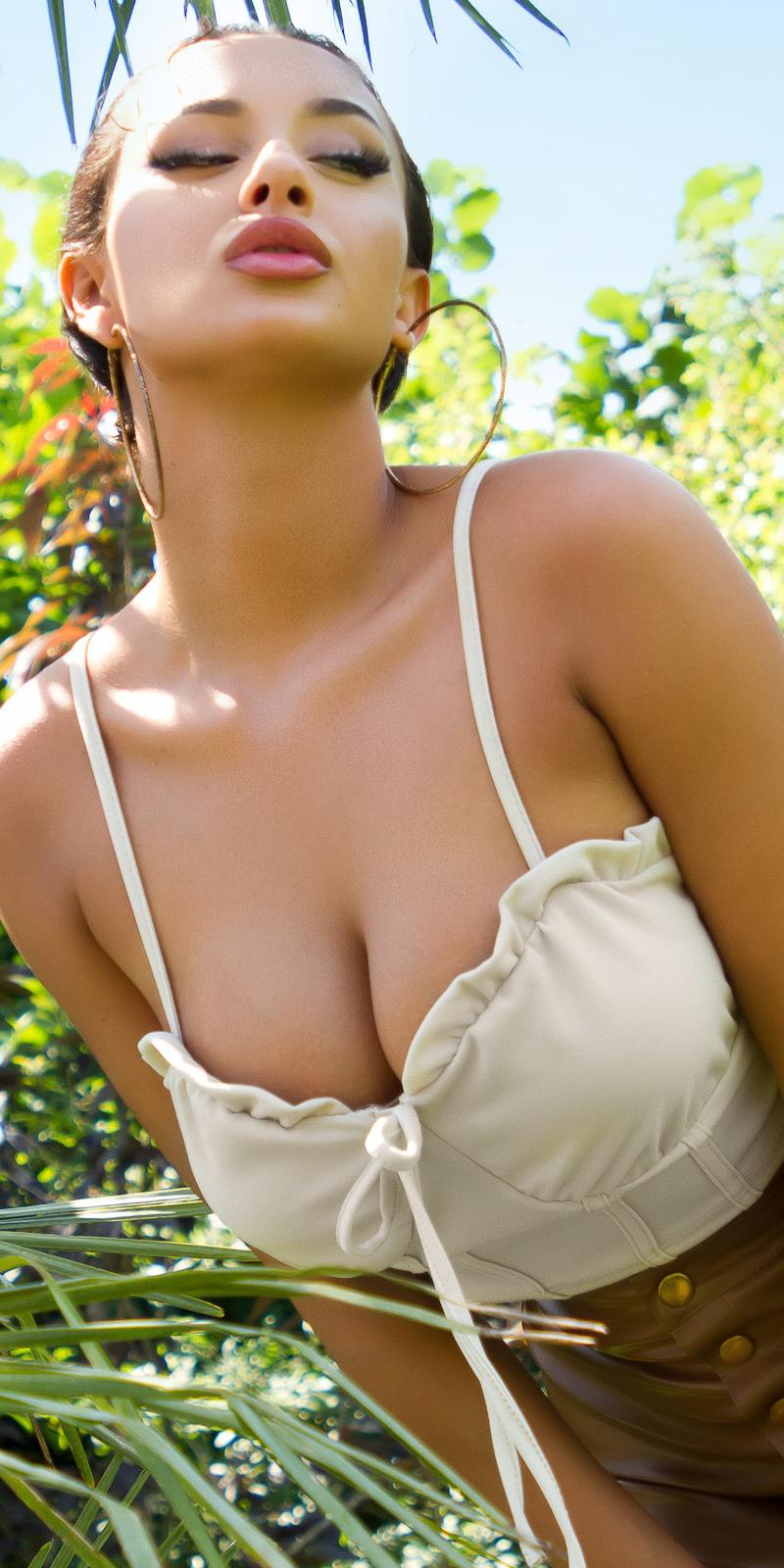 Sexy corset strap top beige