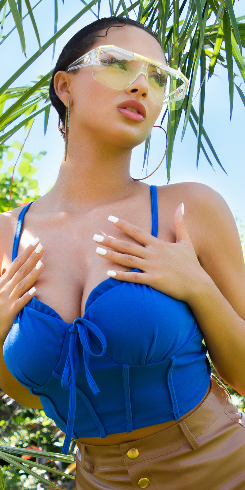 Sexy corset strap top blauw