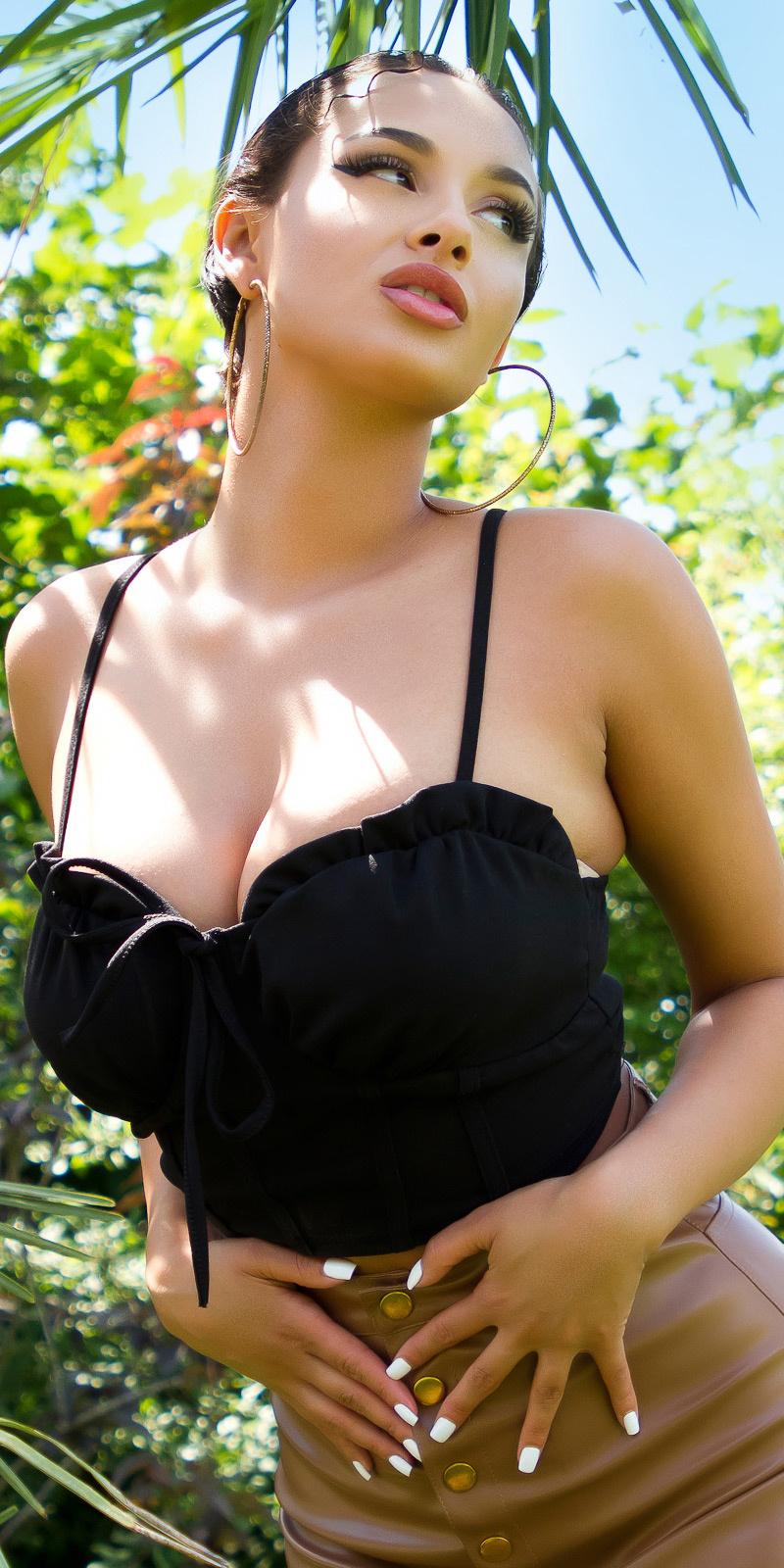 Sexy corset strap top zwart
