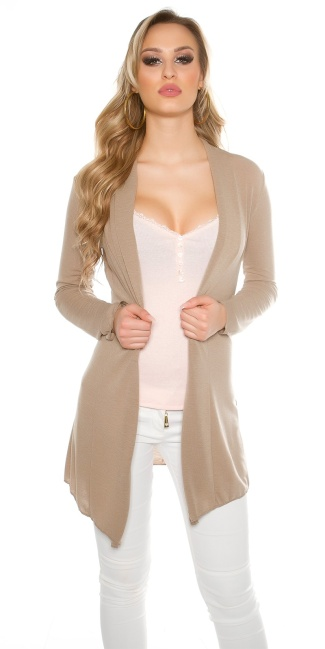 Trendy basic cardigan with variable sleeve length Cappuccino
