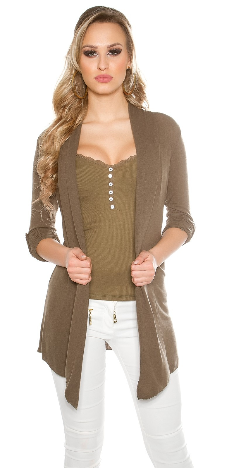 Trendy basic cardigan with variable sleeve length Khaki