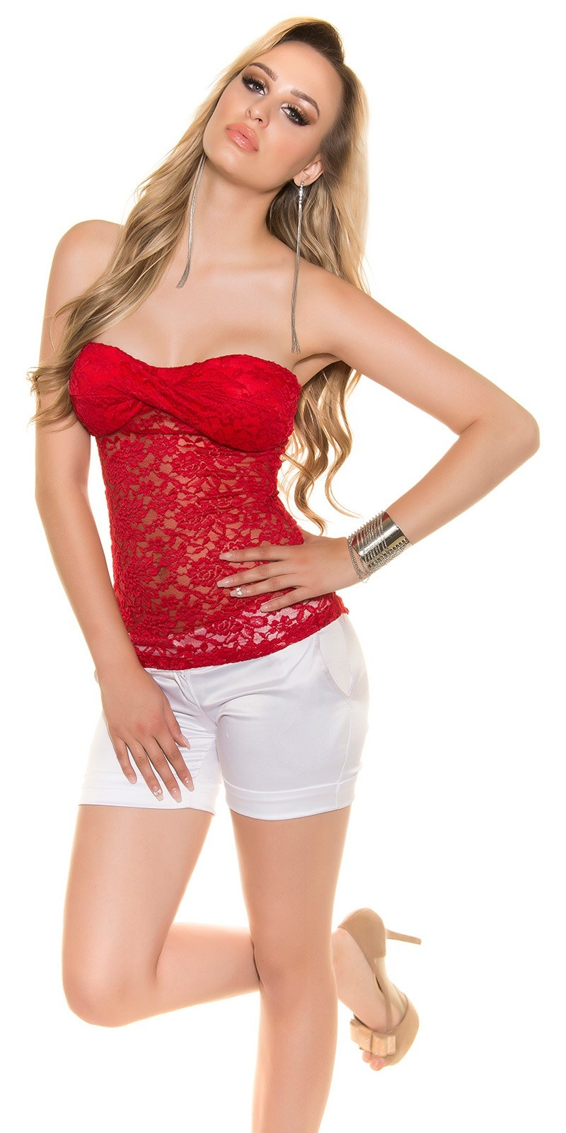 Sexy bandeau top met kant rood