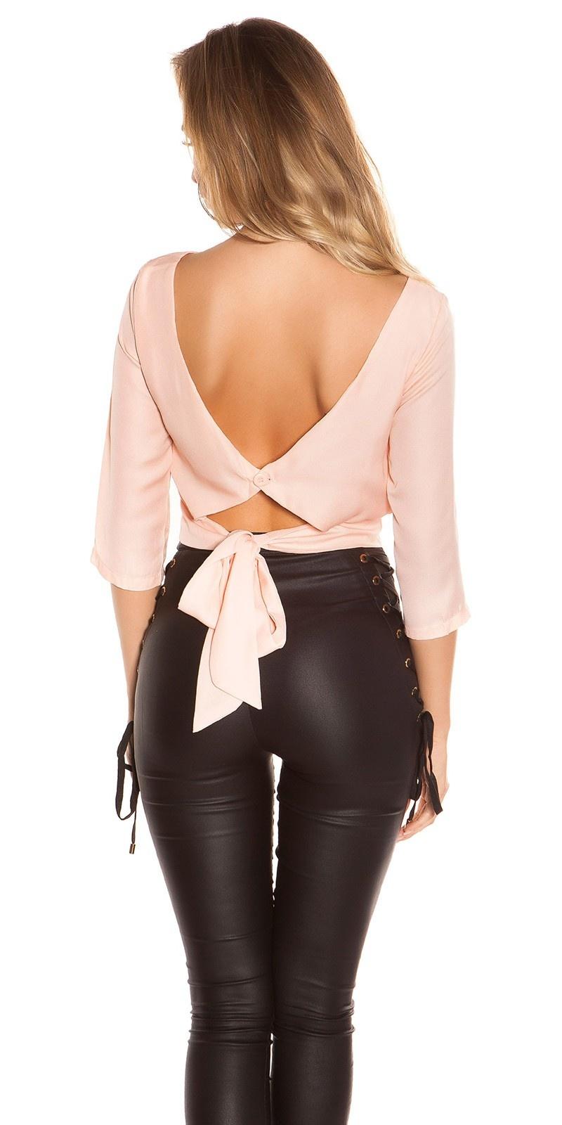 Trendy crop blouse open rug abrikoos-kleurig