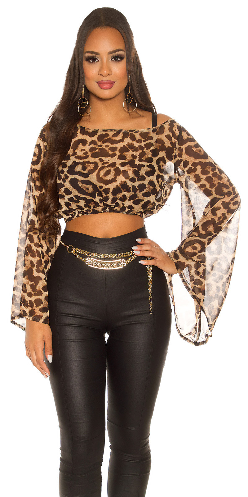 Sexy KouCla Chiffon Latina Crop Top bat sleeves Leo