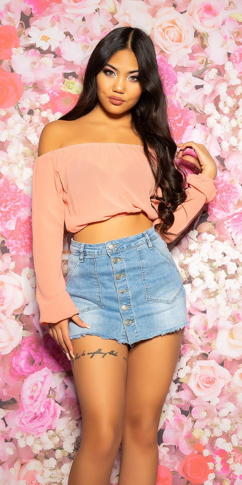 Sexy chiffon latina-crop top buikvrij abrikoos-kleurig