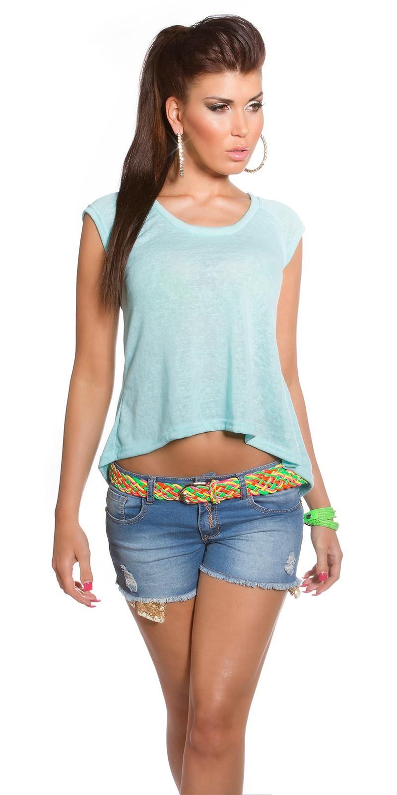 Trendy hoog-laag shirt mintgroen