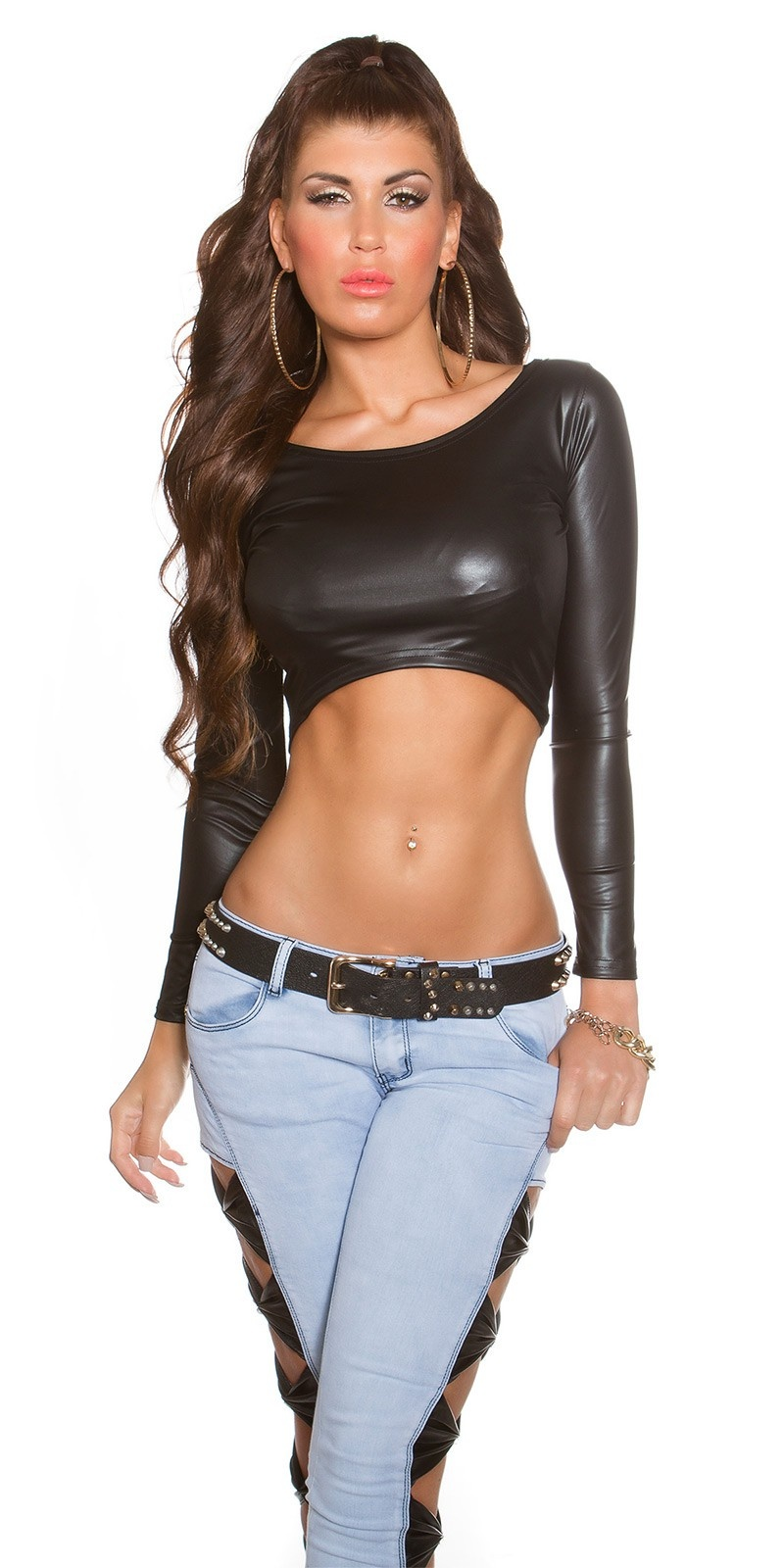 Sexy wetlook crop shirt zwart