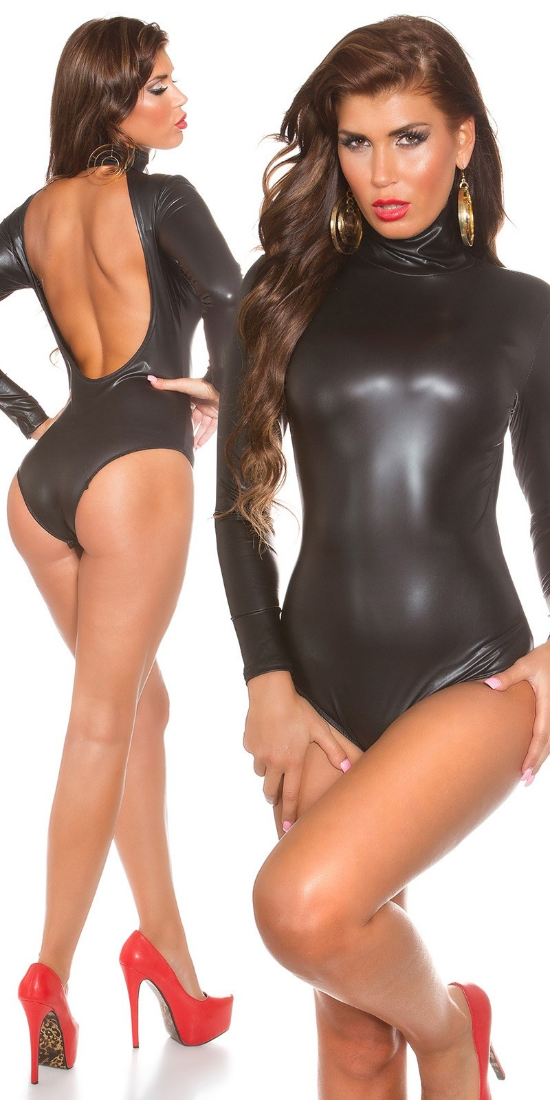 Sexy KouCla Latex Look Body backfree Black