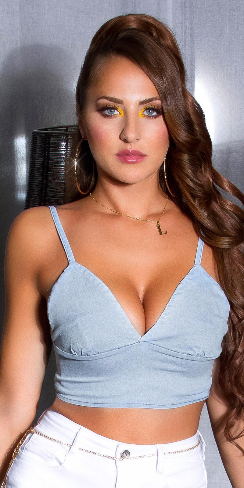 Sexy crop top met diepe v halslijn blauw