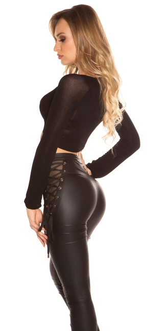 Sexy Koucla longsleeve crop shirt wrap look Black