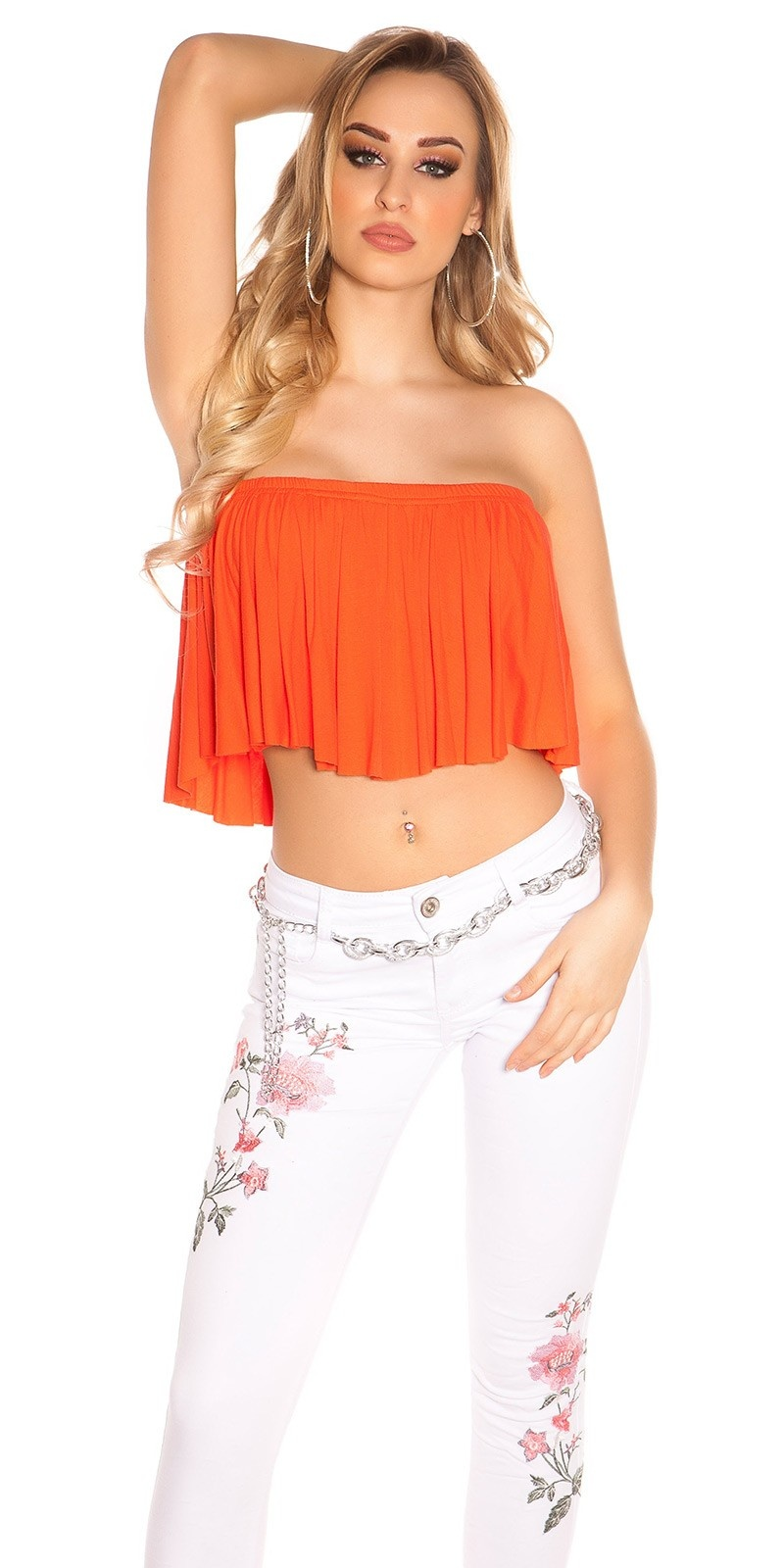 Sexy KouCla Bandeau Croptop with Volant Coral