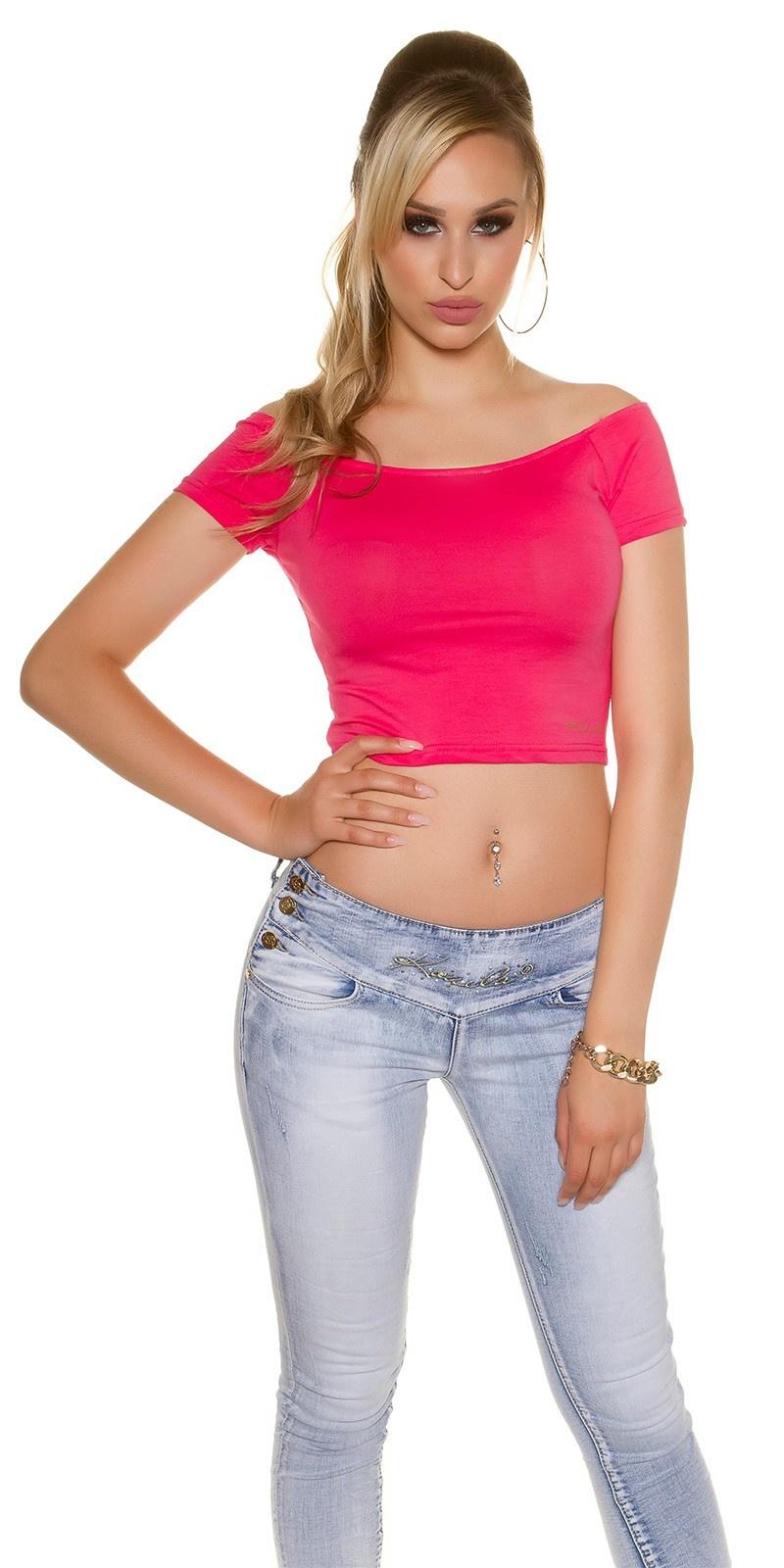 Sexy KouCla Crop shirt with sexy back Fuchsia