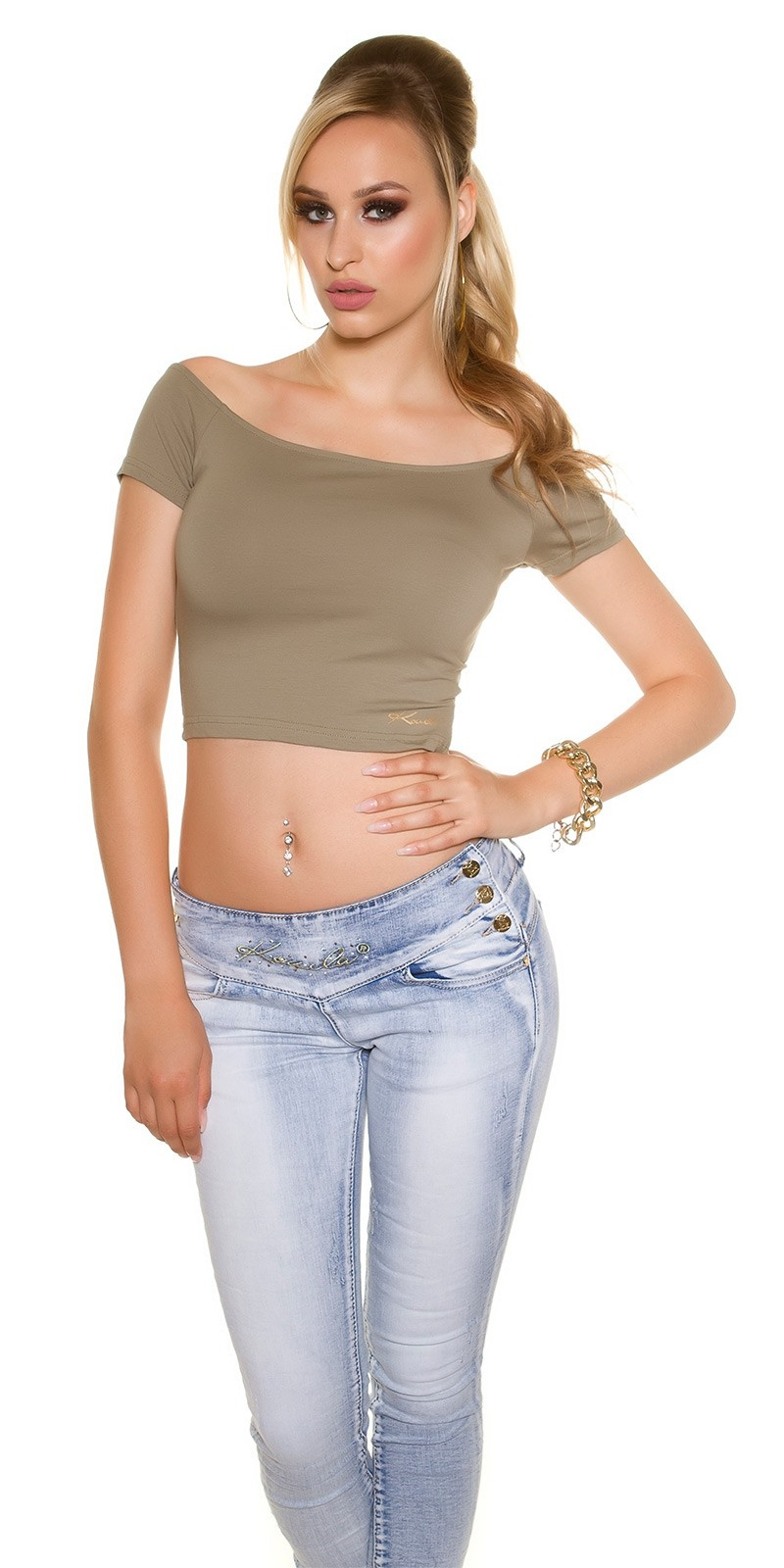 Sexy KouCla Crop shirt with sexy back Khaki