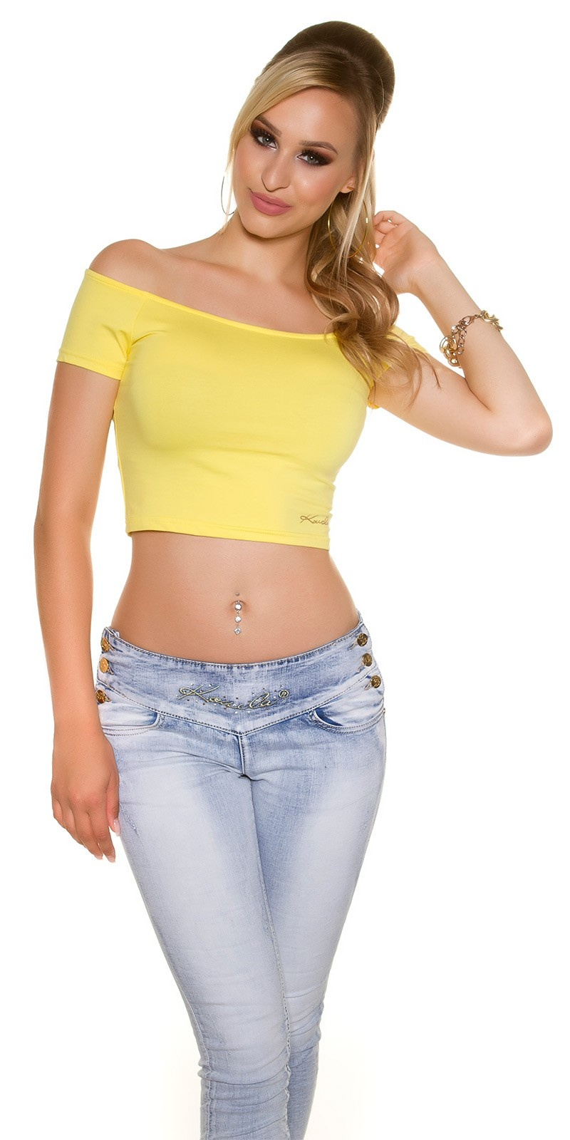 Sexy KouCla Crop shirt with sexy back Yellow