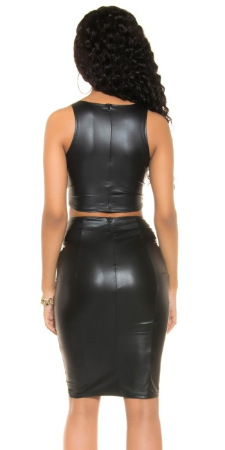 Sexy KouCla Wetlook Crop Top with zip Black
