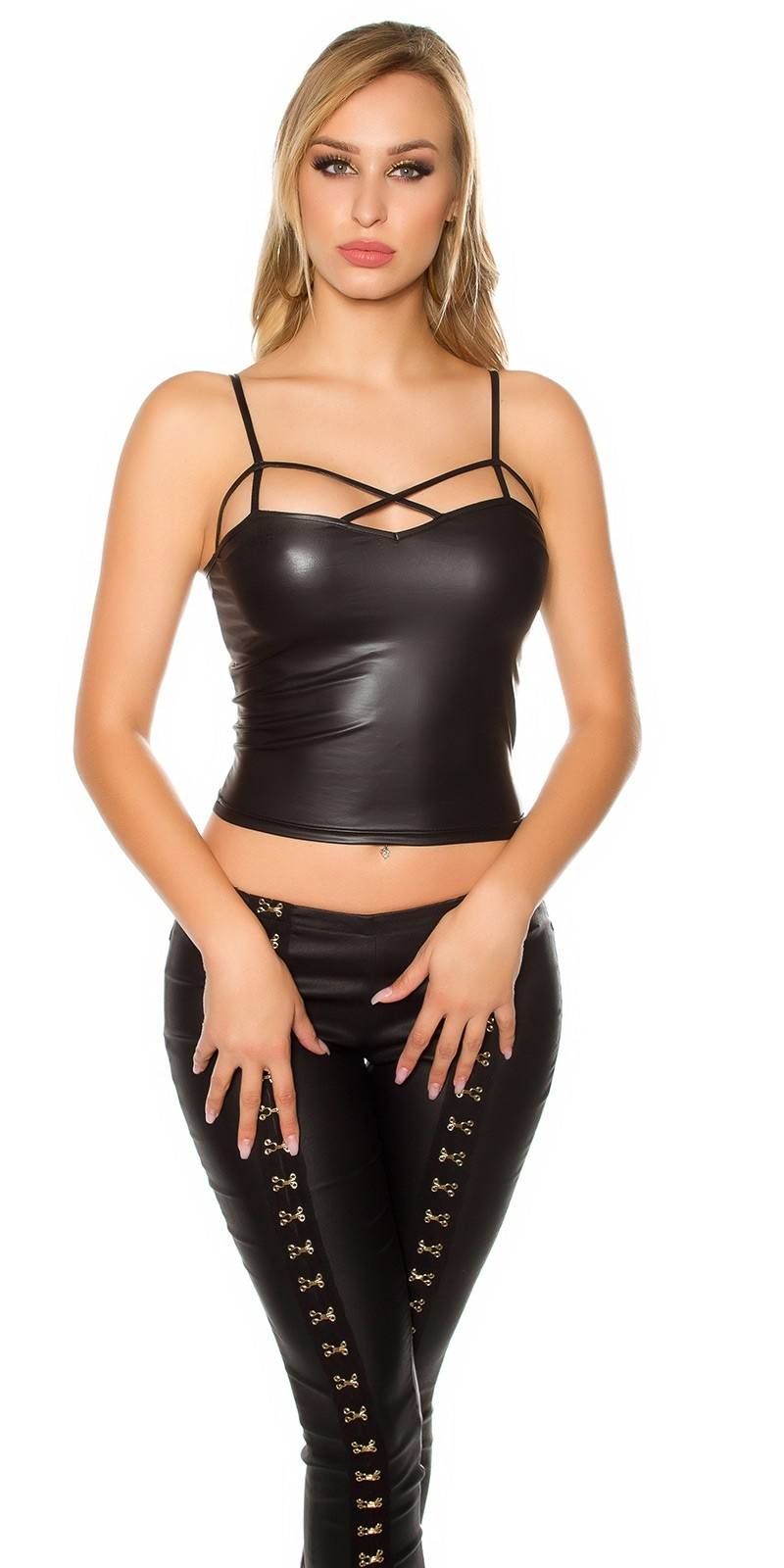 Sexy KouCla Wetlook top in bondage look Black