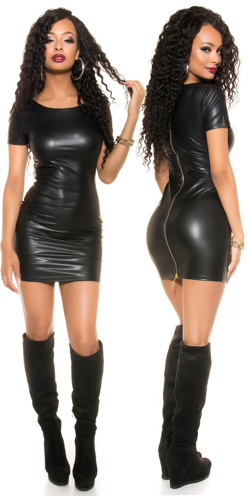 Sexy wetlook mini jurkje met 2-weg ritssluiting zwart