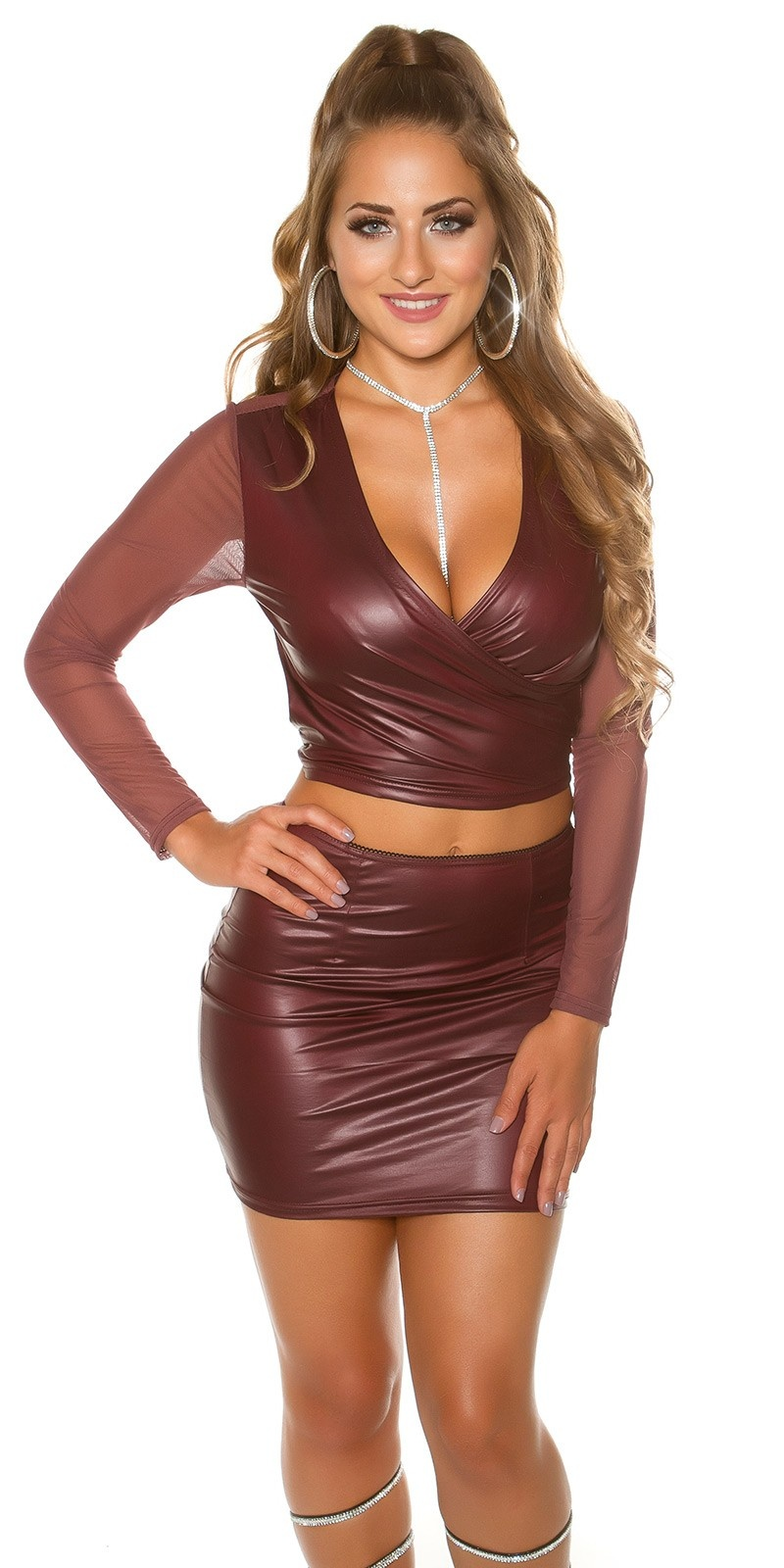 Sexy Koucla Crop longsleeve leatherlook w. mesh Bordeaux