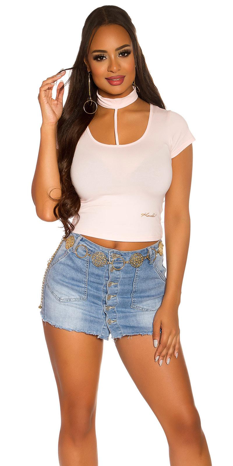 Sexy basic crop shirt roze