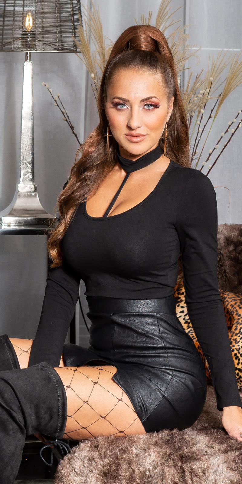 Sexy basic langmouw shirt zwart