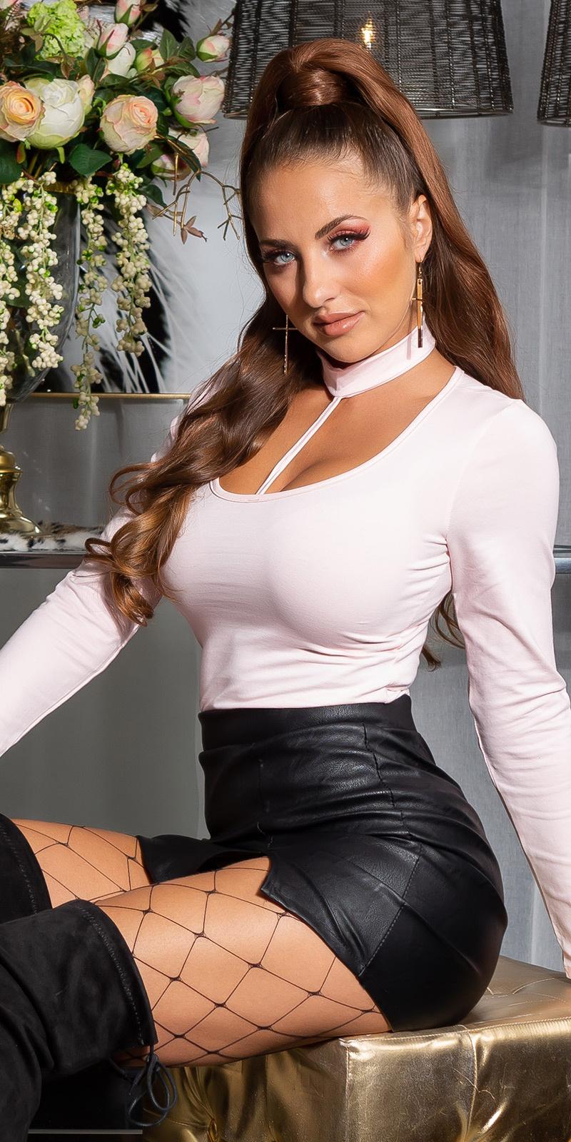 Sexy basic langmouw shirt roze