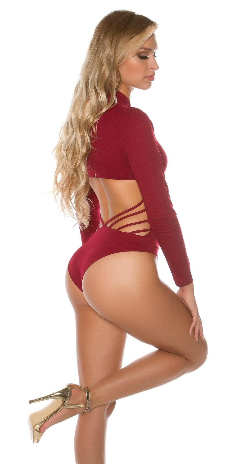 Sexy Koucla Neck Body with WOW back view Bordeaux