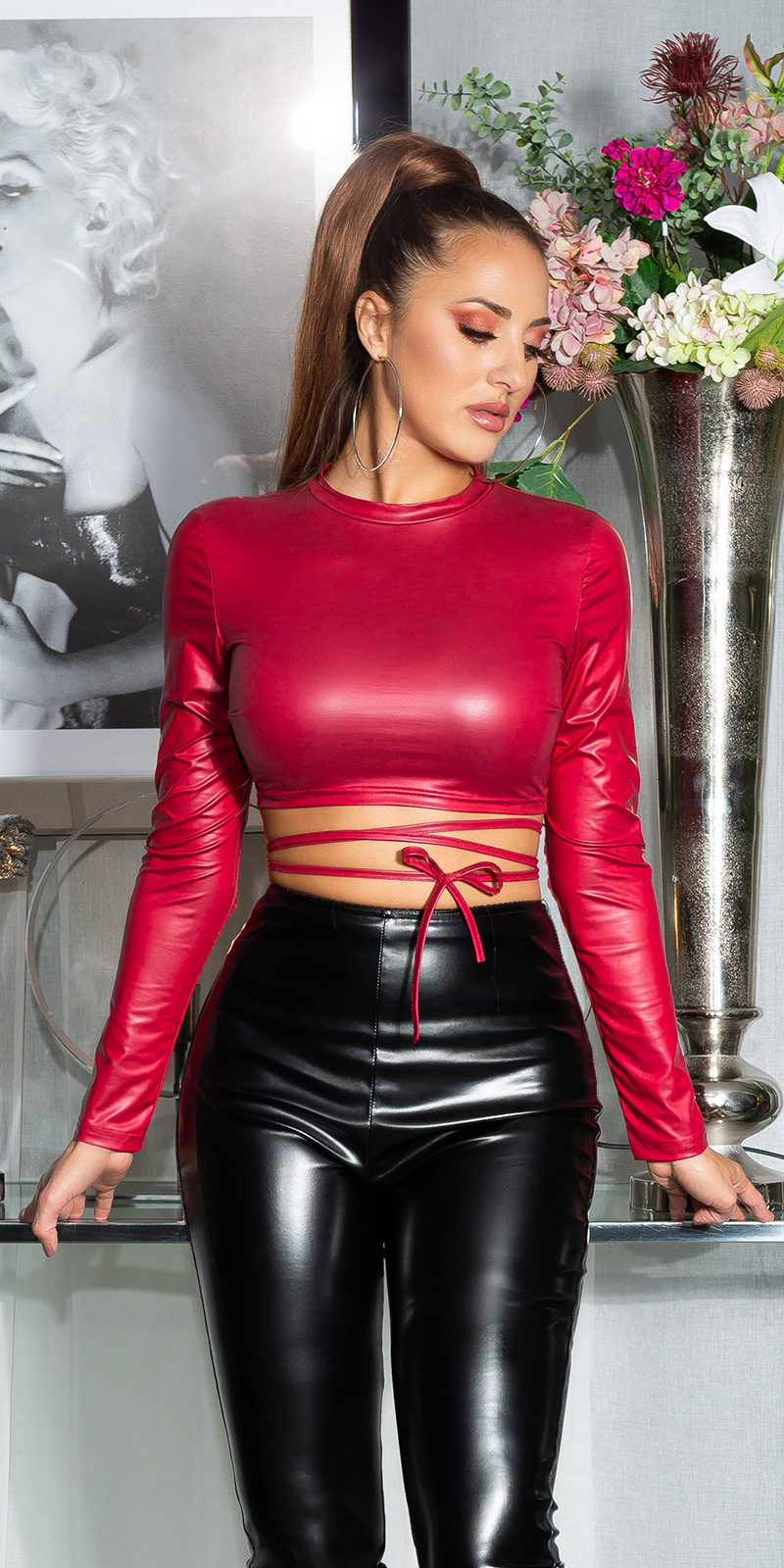 Sexy wetlook lang-mouw crop top bordeaux