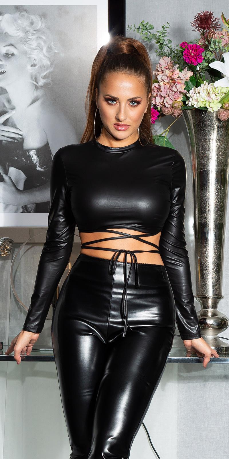 Sexy wetlook lang-mouw crop top zwart