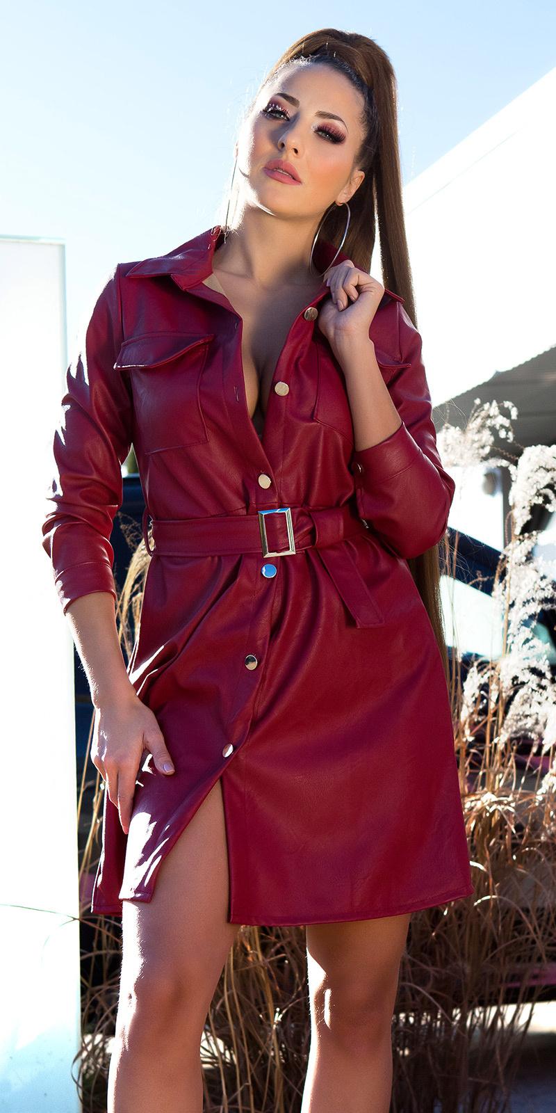 Sexy faux leder jurk met riem bordeaux