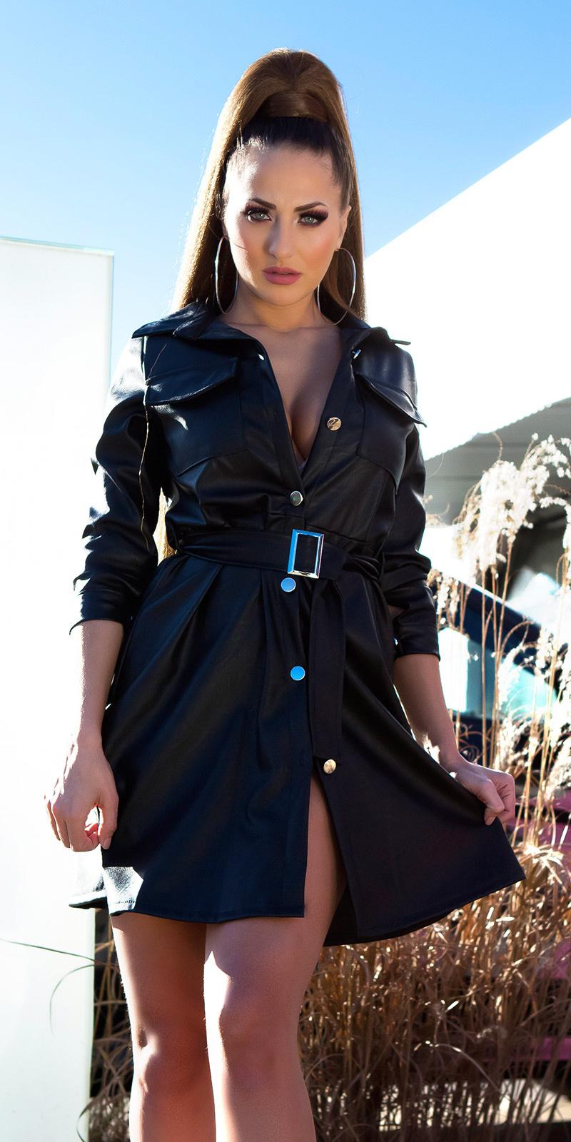 Sexy faux leder jurk met riem zwart