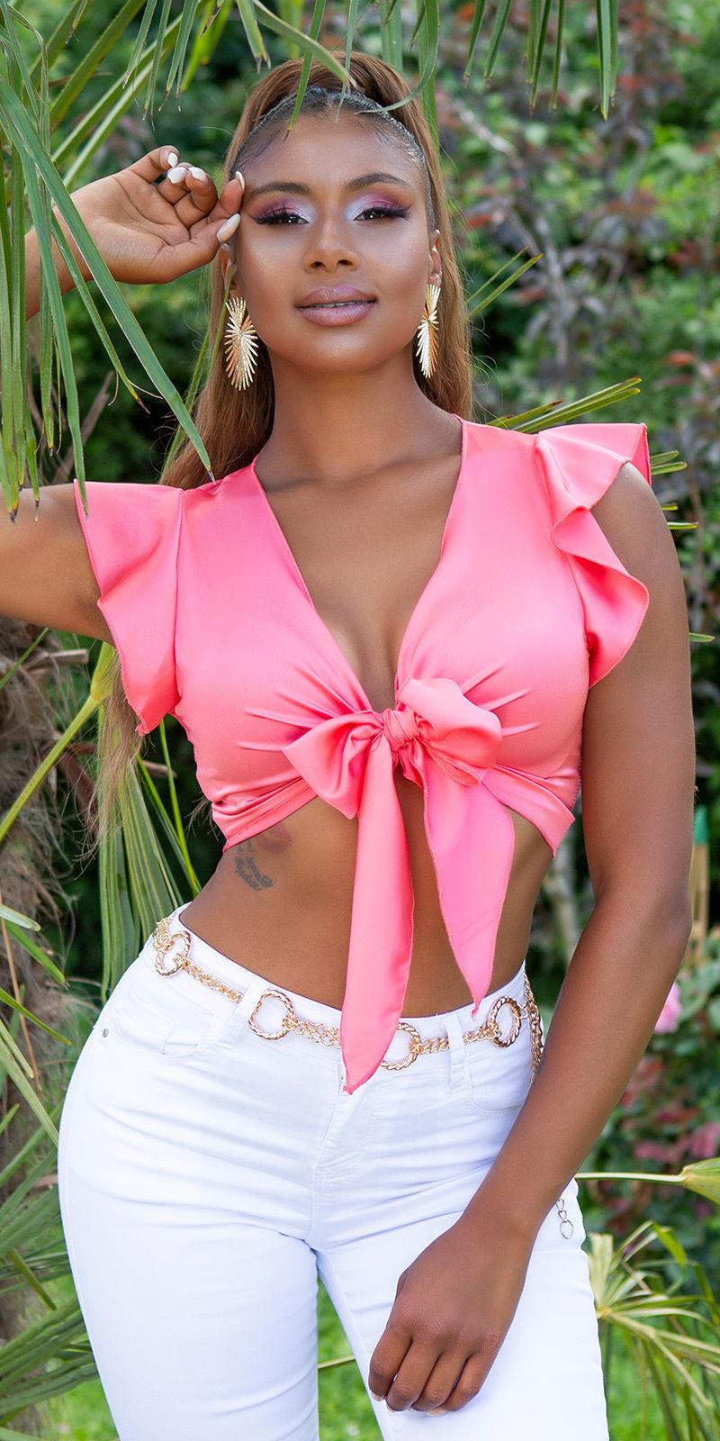 Sexy cropped blouse om vast te binden koraal-kleurig