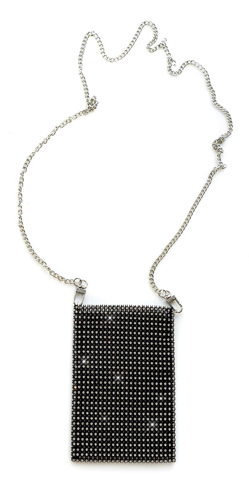Trendy clutch/smartphone met strass steentjes zwartzilver