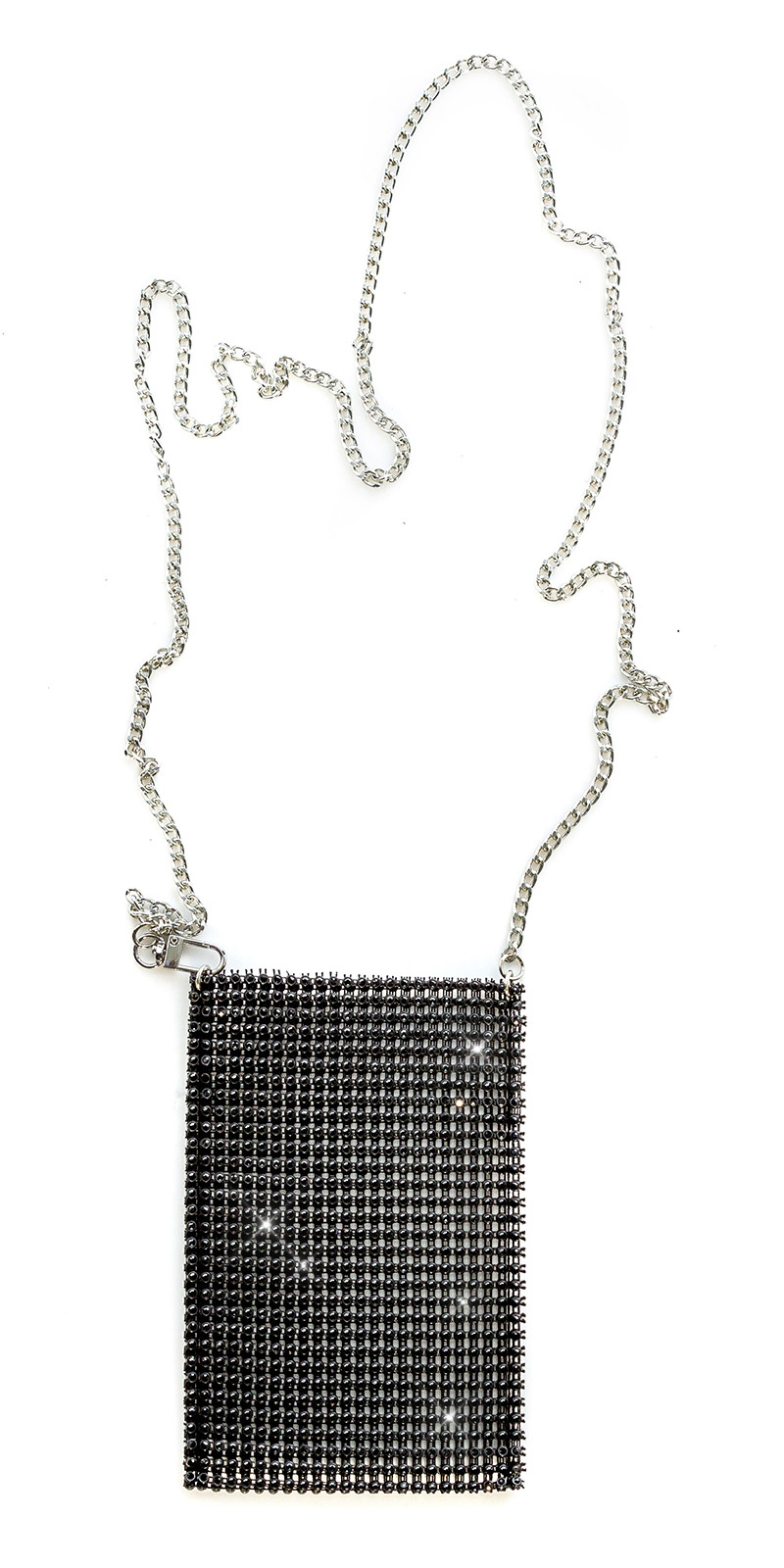 Trendy clutch/smartphone case met strass steentjes zwart