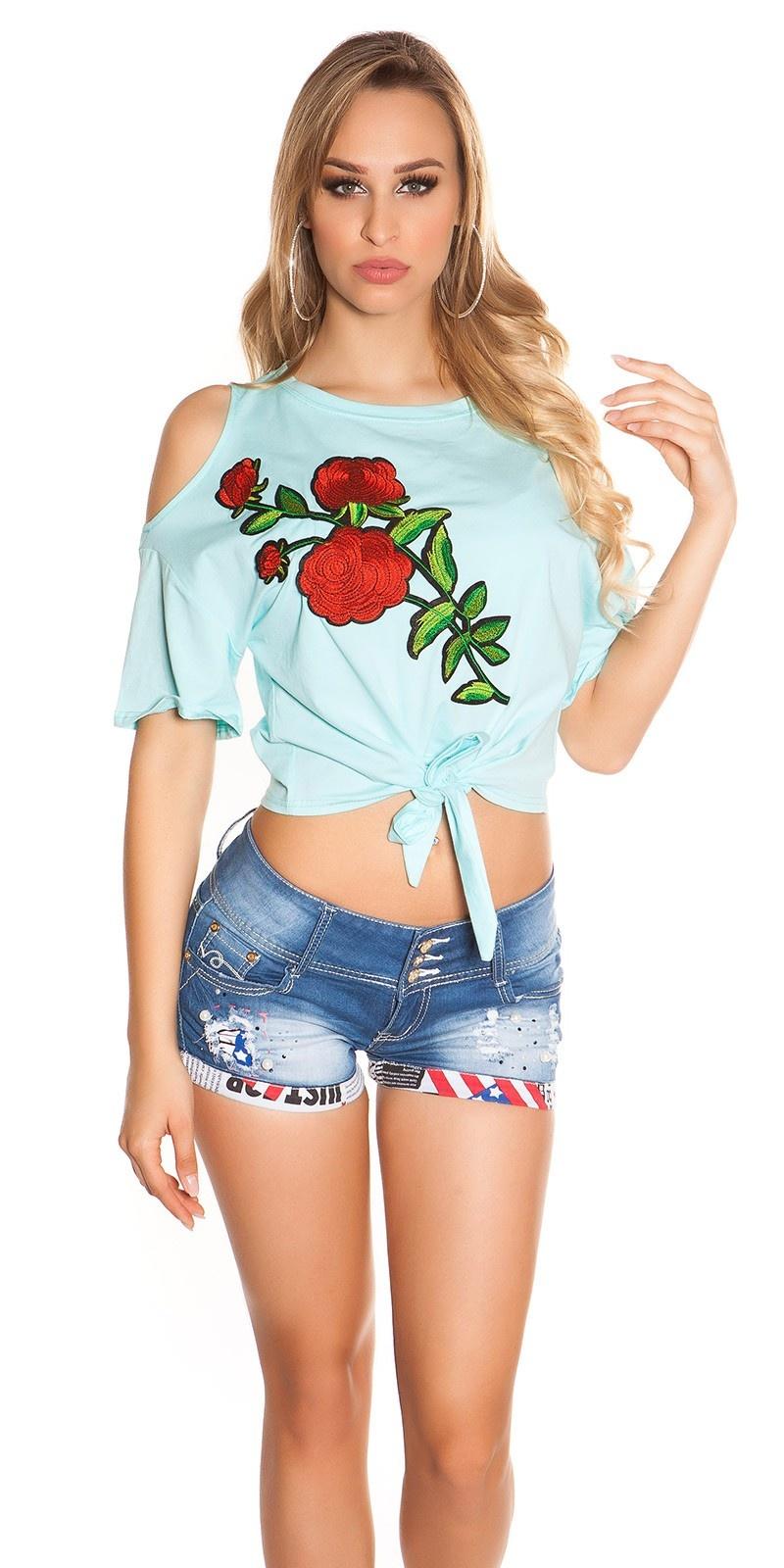 Trendy blote schouder shirt met xl patch mintgroen
