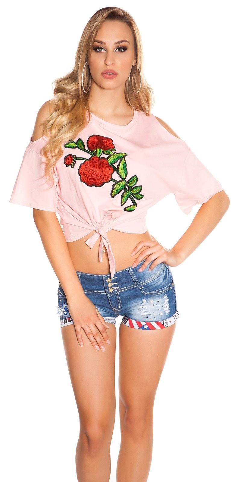 Trendy blote schouder shirt met xl patch roze