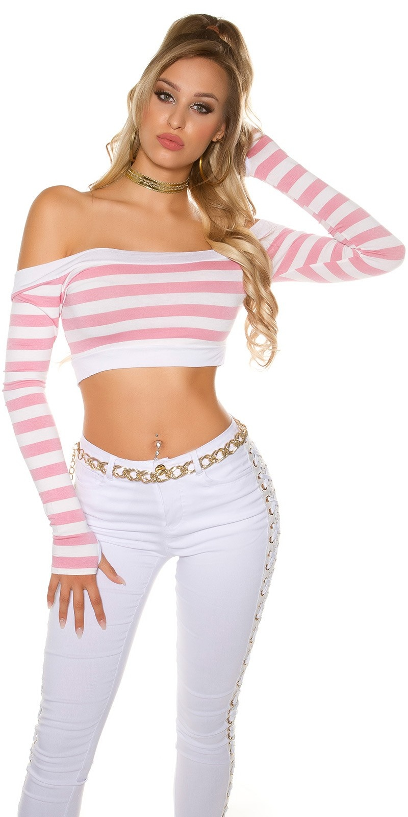 Sexy long sleeve Crop shirt, striped Pink