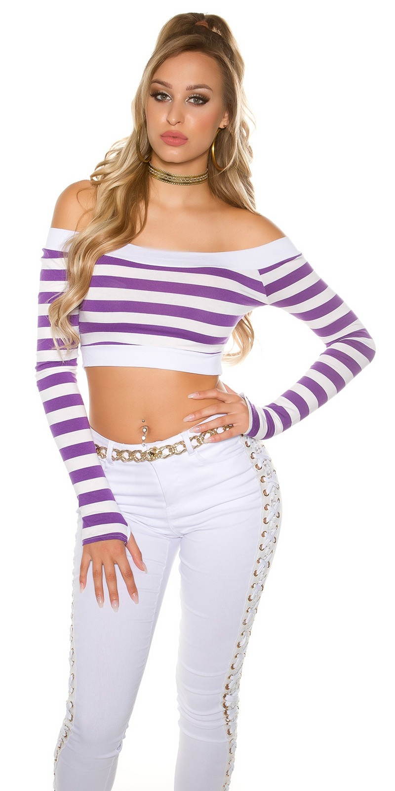 Sexy long sleeve Crop shirt, striped Purple