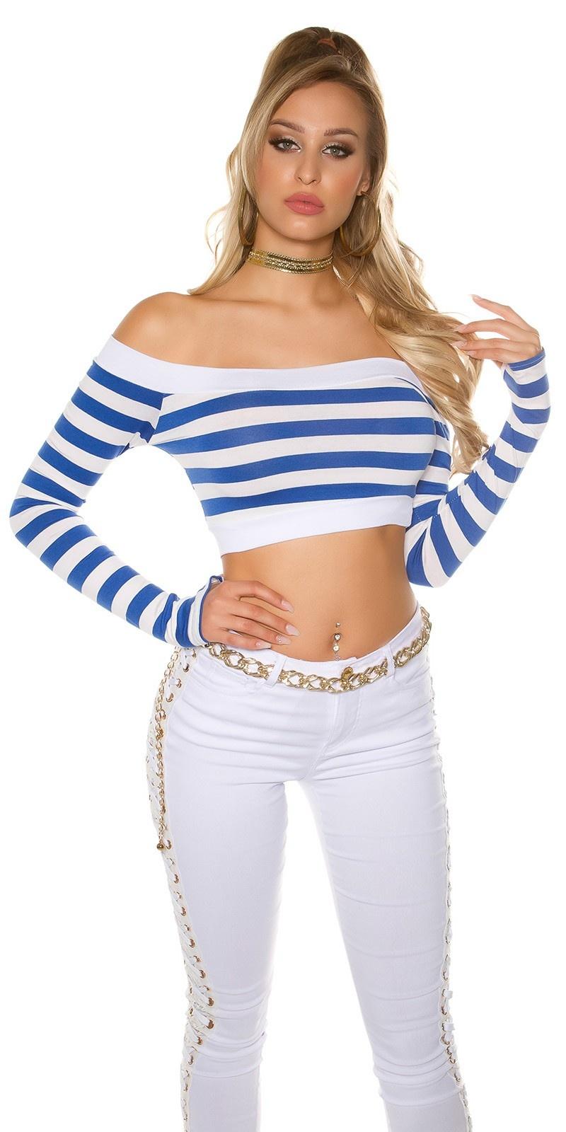 Sexy lange mouw crop shirt, gestreept koningsblauw