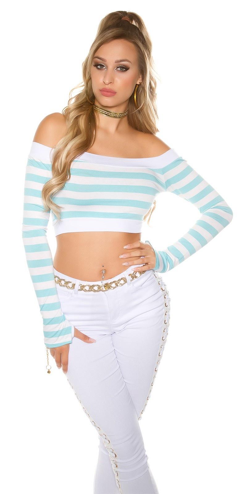 Sexy lange mouw crop shirt, gestreept turkoois-kleurig