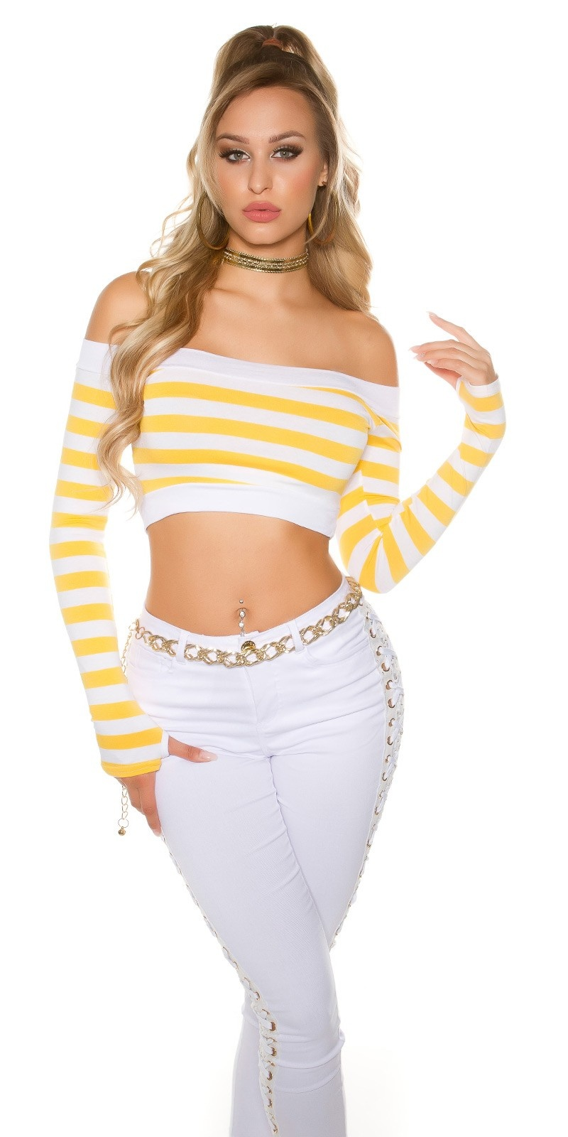 Sexy long sleeve Crop shirt, striped Yellow