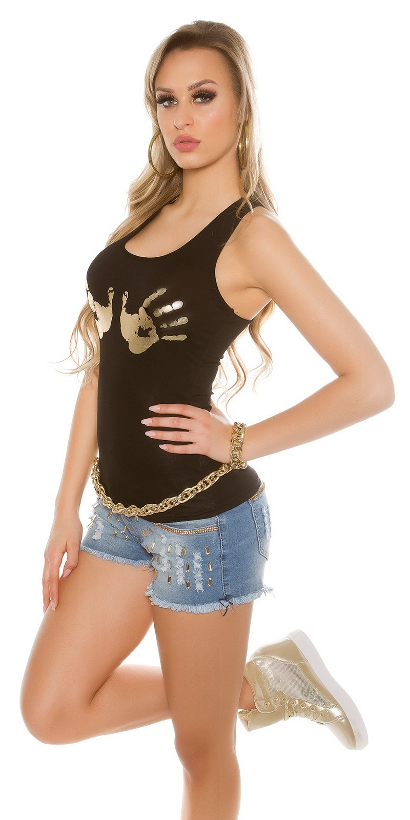 Sexy Top with handprint Blackgold