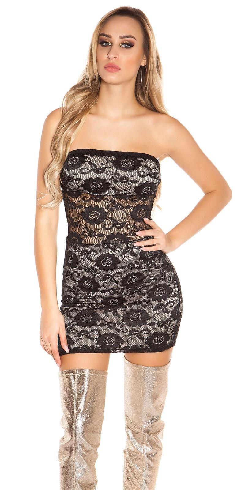 Sexy bandeau-kant-mini jurkje zwartbeige