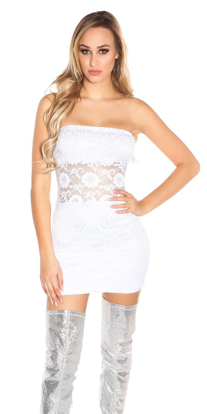 Sexy bandeau-kant-mini jurkje wit