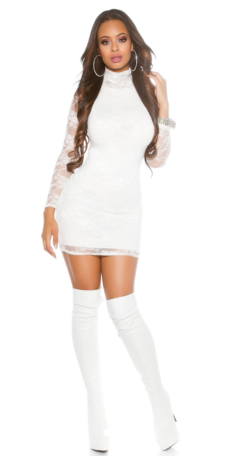 Sexy Lace-Minidress with turtleneck White